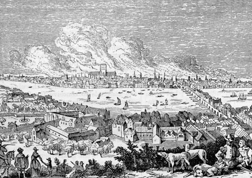Así se veía Londres desde Southwark durante el gran incendio de 1666. Foto: Robert Chambers' Book of Days (Wikimedia Commons).